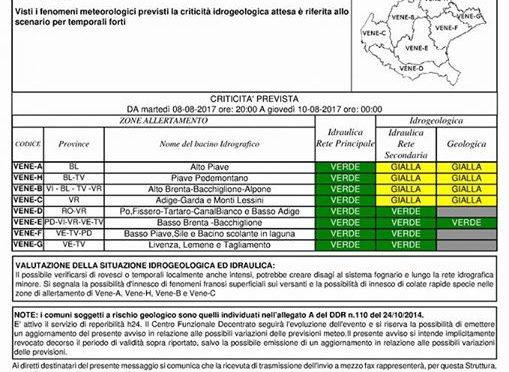 Bollettino criticità 08 – 10/08/2017